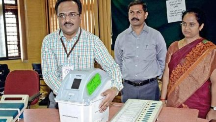 Demonstration of the Voter Verifiable Paper Audit Trail (VVPAT), to be used in the Assembly polls