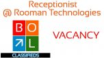 Job Vacancy | Receptionist with Basic Computer Knowledge